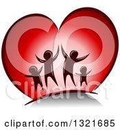 Clipart Of A Happy Family Jumping In A Red Heart Royalty Free Vector Illustration
