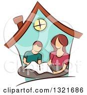Brunette White Mother Home Schooling Her Son Inside A House