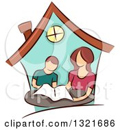 Clipart Of A Brunette White Mother Home Schooling Her Son Inside A House Royalty Free Vector Illustration