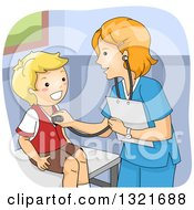 Clipart Of A Friendly White Female Doctor Giving A Happy Boy A Medical Check Up Royalty Free Vector Illustration by BNP Design Studio