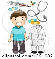 Clipart Of A Happy Brunette White Boy With Doctor Accessories Royalty Free Vector Illustration by BNP Design Studio