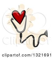 Clipart Of A Red Heart Wearing A Stethoscope Royalty Free Vector Illustration by BNP Design Studio