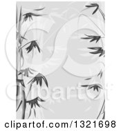 Clipart Of A Grayscale Bamboo Stencil Background Royalty Free Vector Illustration