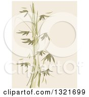 Clipart Of A Green And Tan Bamboo Stencil Background Royalty Free Vector Illustration