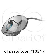 Corded Computer Mouse With A Scroll Clipart Illustration