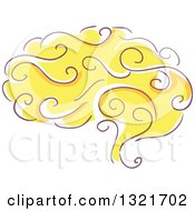 Clipart Of A Sketched Yellow Human Brain Royalty Free Vector Illustration