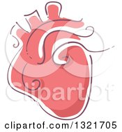 Clipart Of A Sketched Red Human Heart Royalty Free Vector Illustration