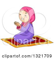 Clipart Of A Muslim Girl Kneeling And Praying On A Carpet Royalty Free Vector Illustration