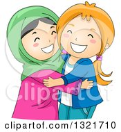 Clipart Of Happy Muslim And Christian Girls Hugging Royalty Free Vector Illustration