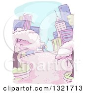 Clipart Of A Sketched Purple And Green City With Cherry Blossom Trees Royalty Free Vector Illustration by BNP Design Studio