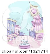 Clipart Of A Sketched Purple And Green City With A Fountain In A Courtyard Royalty Free Vector Illustration by BNP Design Studio