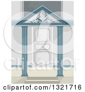 Clipart Of A Stylish Door With A Portico Roof Royalty Free Vector Illustration by BNP Design Studio