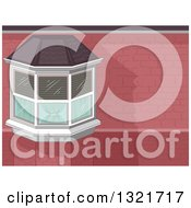 Clipart Of A Bay Window In A Brick House Royalty Free Vector Illustration