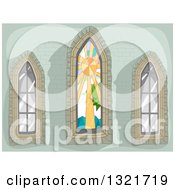 Clipart Of A Green Stone Wall With Stained Glass And Clear Lancet Windows Royalty Free Vector Illustration by BNP Design Studio
