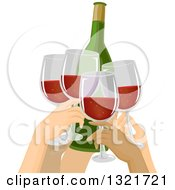 Clipart Of A Group Of People Toasting With Red Wine Royalty Free Vector Illustration