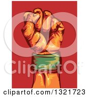 Clipart Of A Clenched Fist Wearing A Green Wrist Band Over Red Royalty Free Vector Illustration