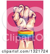 Clipart Of A Clenched Fist Wearing A LGBT Wrist Band Over Pink Royalty Free Vector Illustration