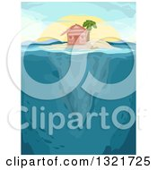 Clipart Of A Hut And Palm Tree On An Island With Underwater Views At Sunset Royalty Free Vector Illustration
