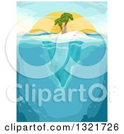 Clipart Of A Palm Tree On An Island With Underwater Views At Sunset Royalty Free Vector Illustration by BNP Design Studio
