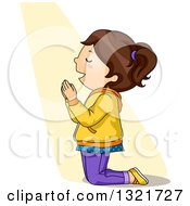 Clipart Of A Brunette White Girl Kneeling And Praying In A Beam Of Light Royalty Free Vector Illustration