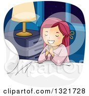 Clipart Of A Happy Red Haired White Girl Kneeling And Saying Her Bed Time Prayers Royalty Free Vector Illustration