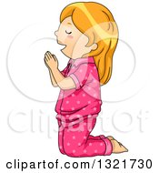 Clipart Of A Red Haired White Girl Kneeling And Praying In Pajamas Royalty Free Vector Illustration by BNP Design Studio