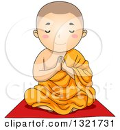 Clipart Of A Buddhist Boy Sitting And Praying Royalty Free Vector Illustration