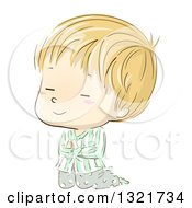 Clipart Of A Sketched Blond White Boy Kneeling And Praying In Pajamas Royalty Free Vector Illustration