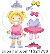 Clipart Of A Happy Blond White Girl With Ballet Accessories Royalty Free Vector Illustration by BNP Design Studio