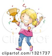 Clipart Of A Blond White Girl Cheering And Holding Up A Trophy Royalty Free Vector Illustration by BNP Design Studio