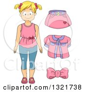 Clipart Of A Blond White Girl With Pink Apparel Royalty Free Vector Illustration