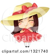 Clipart Of A Cute Brunette White Girl In A Big Hat And Red Dress Royalty Free Vector Illustration by BNP Design Studio
