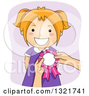 Clipart Of A Happy Red Haired White Girl Receiving A Ribbon Royalty Free Vector Illustration