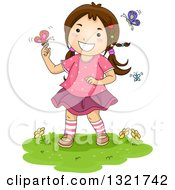 Clipart Of A Brunette White Girl Playing With Spring Butterflies Royalty Free Vector Illustration