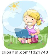 Clipart Of A Happy Blond White Girl Sitting In Grass And Using A Laptop Royalty Free Vector Illustration by BNP Design Studio