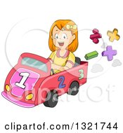 Happy Red Haired White School Girl Driving A Math Car