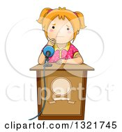 Clipart Of A Nervous Red Haired White School Girl Sweating At A Podium About To Give A Public Speech Royalty Free Vector Illustration