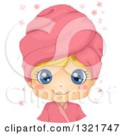Happy Blond Haired White Girl With Big Blue Eyes Wearing A Pink Spa Towel On Her Head