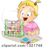Happy Blond White Toddler Girl Playing With An Abacus