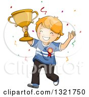 Clipart Of A Happy Red Haired White Boy Cheering And Holding Up A Trophy Royalty Free Vector Illustration by BNP Design Studio