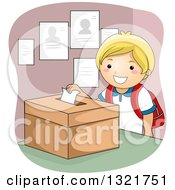 Clipart Of A Happy Blond White Boy Dropping A School Election Ballot In A Box Royalty Free Vector Illustration