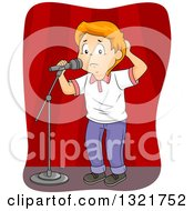 Clipart Of A Nervous Red Haired White School Boy At A Microphone On Stage Royalty Free Vector Illustration