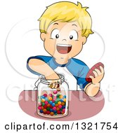Clipart Of A Happy Blond White Boy Reaching Into A Candy Jar Royalty Free Vector Illustration