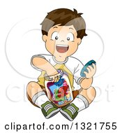 Clipart Of A Happy Brunette White Boy Putting Items In A Time Capsule Jar Royalty Free Vector Illustration