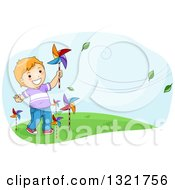 Clipart Of A Happy Red Haired White Boy Plaing With Pinwheels In The Breeze Royalty Free Vector Illustration by BNP Design Studio