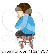Clipart Of A Mad Brunette White Boy Sitting On A Stool And Looking Back Royalty Free Vector Illustration