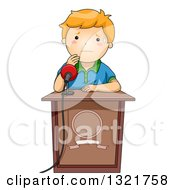 Clipart Of A Nervous Red Haired White School Boy Sweating At A Podium About To Give A Public Speech Royalty Free Vector Illustration