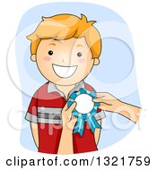 Clipart Of A Happy Red Haired White Boy Receiving A Ribbon Royalty Free Vector Illustration by BNP Design Studio