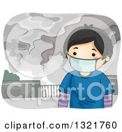 Clipart Of An Asian Boy Wearing A Mask In A Polluted City Royalty Free Vector Illustration