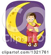 Clipart Of A Happy Brunette White Boy Hugging A Star Pillow On A Crescent Moon Royalty Free Vector Illustration